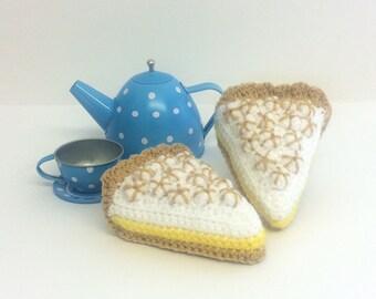 Play Food Crochet Lemon Meringue Pie Slice, Gift, Amigurumi