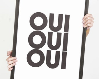 Oui French Words Typography Poster 18x24