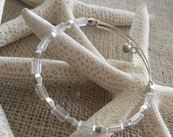 Adjustable bangels inspired , beaded bangle, adjustable bangle, crystal bangle, memory wire, stackable bracelet, beaded bracelets,