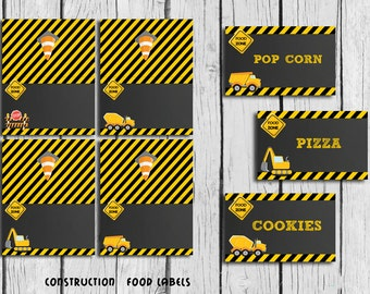 Construction FOOD Tent Labels BLANK ,Construction Party Printable, Dump Truck foo tent DIY, Instant Download
