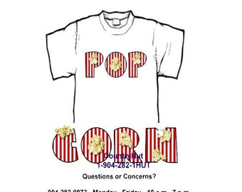 T-shirt - Your Name in -- POPCORN, movies, theatre - personalized custom -- yth xSmall to adult 6xLarge