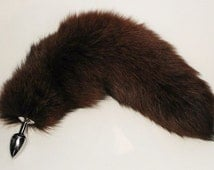 "Tail Butt Plug, 16""Light BROWN Fox Tail, MATCH Your Locks, Detachable or Permanently Attached in 3 Plug Sizes, MATURE, bdsm, Cosplay"