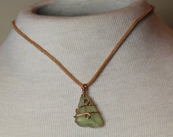 Copper Leather Light Green Sea Glass | Shimmering Sea Glass