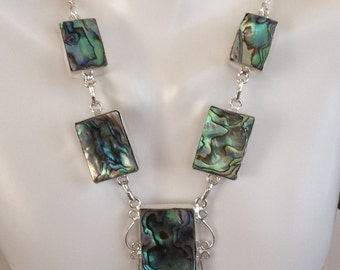 Gorgeous Abalone Shell Necklace - Sterling Silver .925