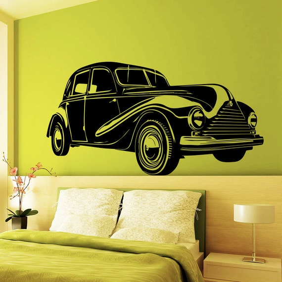 Vintage Auto Wall Decor : Wall decals retro old car auto vintage stickers vinyl decal