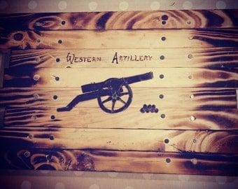 Western artillery cannon mini board, wood burned pyrography