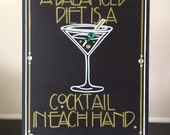 Art Deco-Roaring Twenties-Vintage-Great Gatsby Wedding- Fun Cocktail Party Sign. Wow Your Guests with this Handpainted Crystal Sign