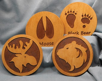 Moose-Bear coaster set