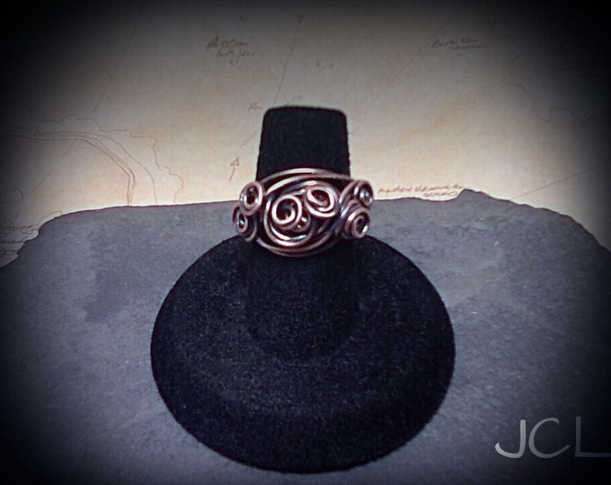 Swirling wind copper ring wire wrapped ring