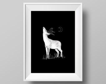 Deer & Moonlight A4 Print