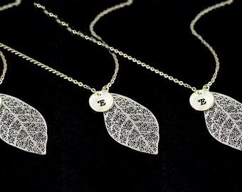 Silver leaf necklace set 4.5.6...9,Personalized bridesmaid gift,silver leaf charms,Bridesmaid gifts for Fall wedding, friendship necklaces,