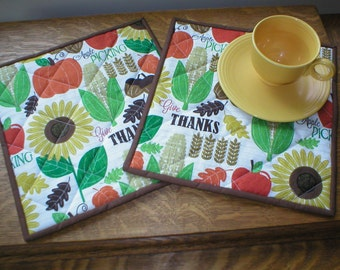 "Quilted Mug Rugs - Snack Mats - ""Apple Picking"" Print - Set of 2"