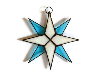 Stained Glass Star Suncatcher, Window Decoration in white and sky blue colors