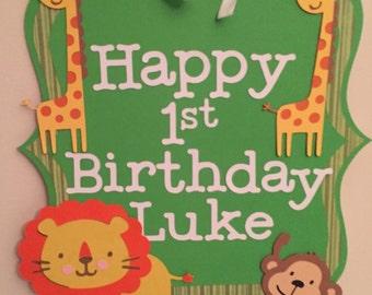 Safari themed welcome sign, jungle party, safari birthday!
