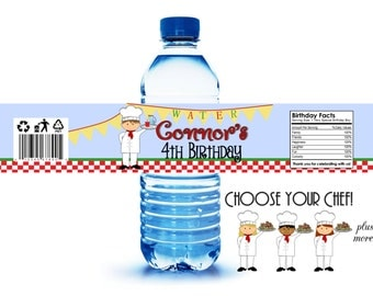 CUSTOMIZED - Water Bottle Labels, Little Chef Birthday Party, Pizza Party