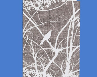 White Currawong  Silhouette  Blank Greeting Card Free Shipping Australia Wide