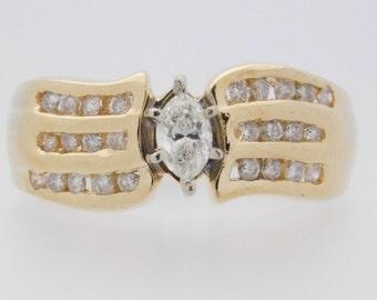 0.66 Carat T.W. Marquise & Round Cut Diamond Engagement Ring 14K Yellow