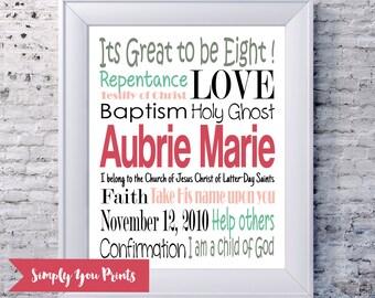 Baptism Subway Art, Girl Baptism Gift, LDS, Girls Room Decor, Customize Your Colors, Multiple Sizes