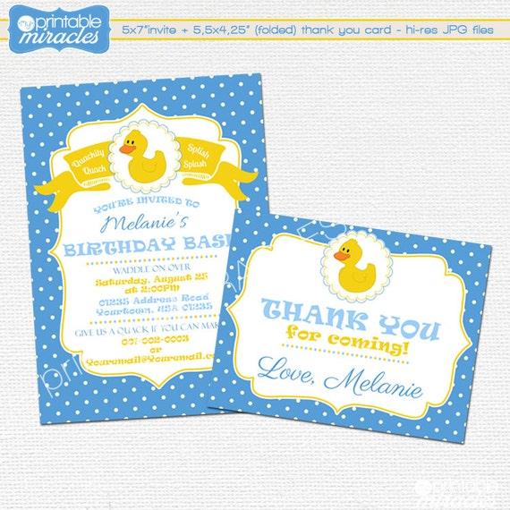 Rubber duck birthday party invitation FREE matching thank you – Thank You Party Invitation