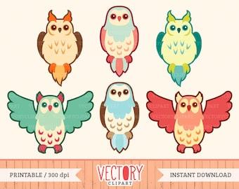 Cute Owl Clipart Set, Owl Clip Art, Vintage Owls, Retro Owl Clipart by VectoryClipart