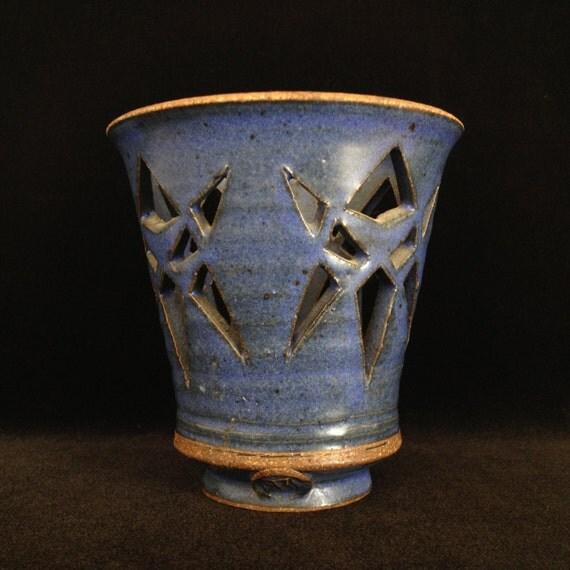 Items similar to votive candle holder ceramic cutout ...
