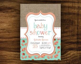 Penelope - Shabby Chic Baby Shower Invitation