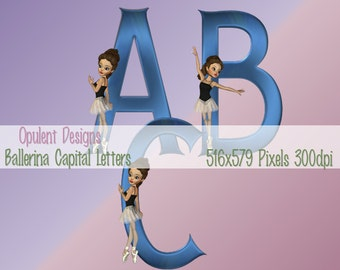 Digital Alphabet: Blue Capital Letters with a Ballerina Embellisment