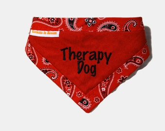 Dog Bandana - Therapy Dog Bandanna - Therapy Dog Scarf - Bandanna Alert - Clip on Pet Scarf - Reversible Dog Bandanna - Dog Accessories