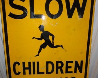Vintage Metal Children Playing Sign