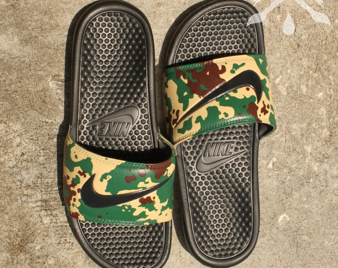 Nike Custom Military Camouflage Benassi Swoosh Camo Slide Sandals Flip flops Men's