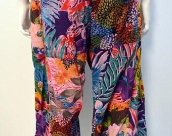 Plus size boho floral swirls patchwork harem pants trousers pink