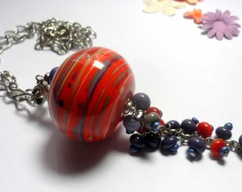 Pendant. Beaded Jewelry Handmade Lampwork Pendant . Purple, orange,grey.