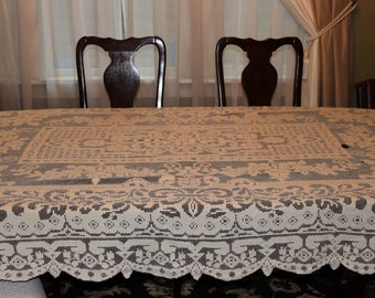 Large Ecru / Off White Lace Tablecloth