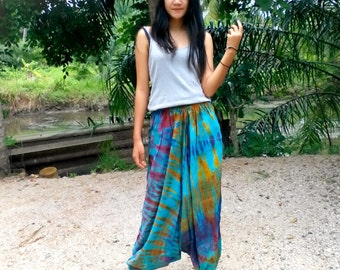 Ladies Handmade Tie Dye Harem Pants. Baggy Pants. With Pockets. Blue