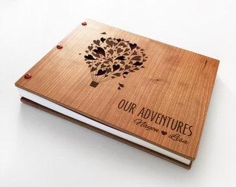 Adventure Guest Book Wedding Album Wooden Engraved Guest Book Wedding Guestbook Hot Air Balloon Wooden Photo Booth Album Guest Book 8.5x11