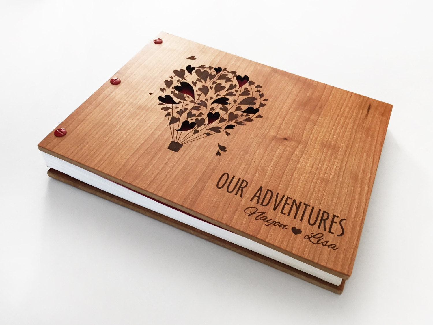 Wood Covered Book : Adventure guest book wedding album wooden engraved