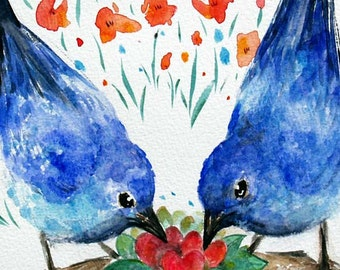 Blue Birds Watercolor painting,Lovebird animal picture