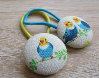 Fabric Covered Button Hair Elastic – Bird (Set of 2)