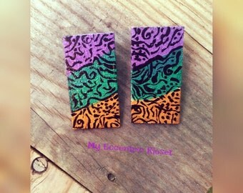Handpainted square wood earrings