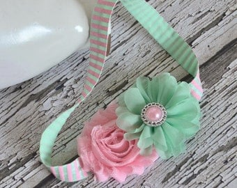 Fresh Mint & Pink Headband