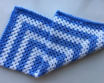 "Hand Crochet Baby Blanket ""Granny Square"" in Classic Baby Blue & White"