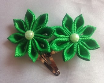 Pair of green kanzashi flower hair clips, back to school, wedding, christening, party, hair accessories