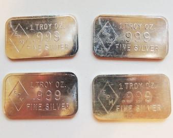 Commercial 1 Oz 999 Pure Silver Epm Art Bar
