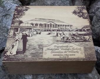 Vintage Wood Box with Hinged Lid - Henkell Trocken