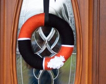 Orange & Black Halloween wreath