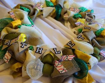 Custom Burlap and Fabric Pennant Wreaths