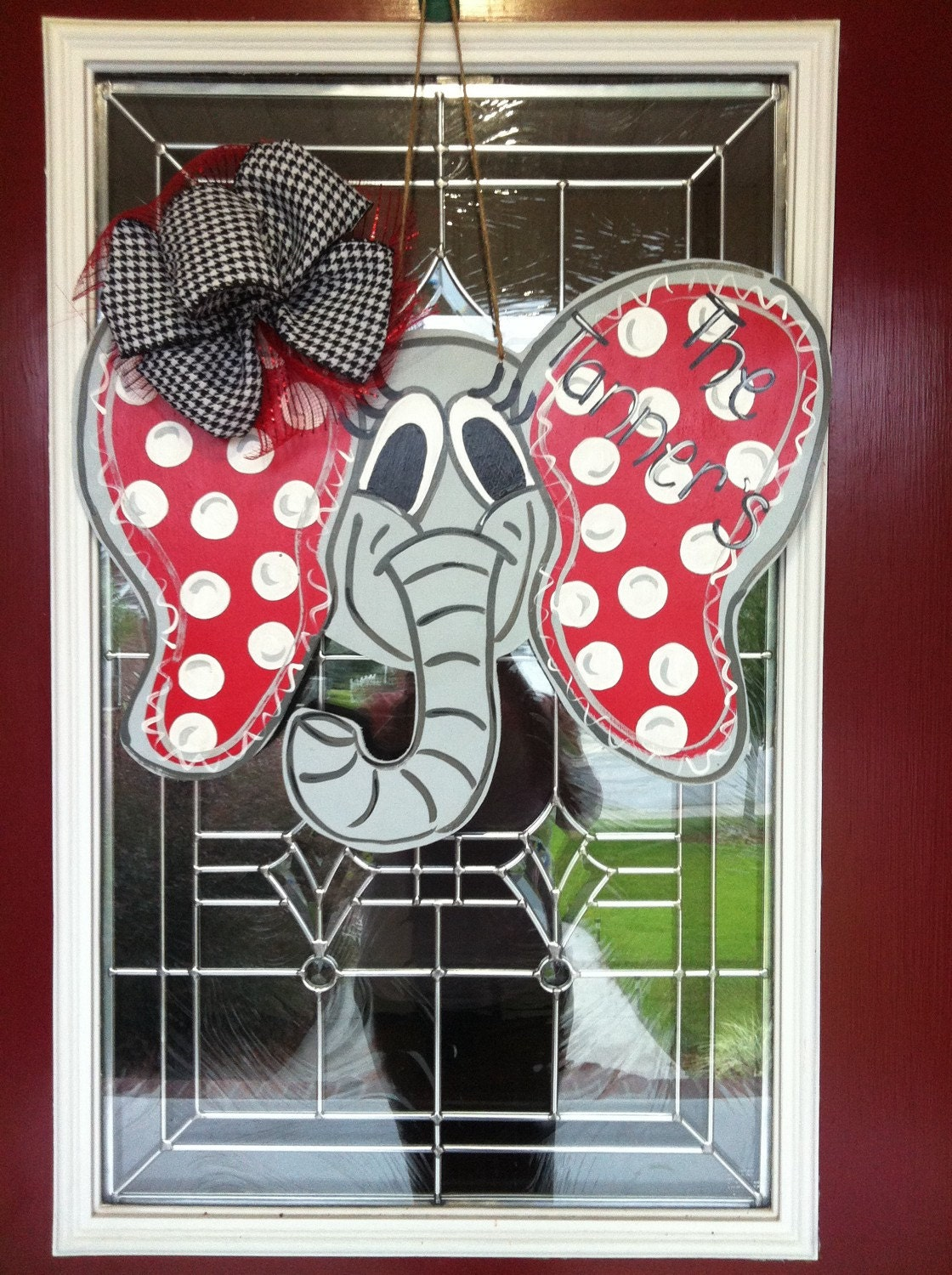 Big Al Alabama Elephant Wooden Door Hanger