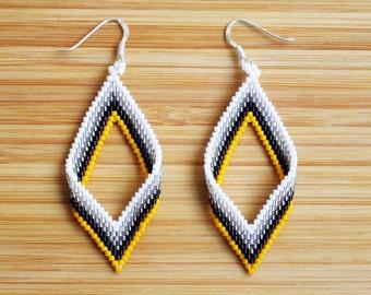 Miyuki yellow diamond 925 Silver earrings