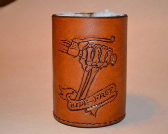 Beer Cozy, Leather, Biker, CC-004