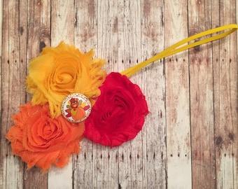 Shabby flower red orange yellow Thanksgiving turkey bottle cap hair clip headband photoshoot fall holiday dress up November